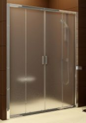 RAVAK Blix zuhanyajtó BLDP4-140 négyrészes toló rendszerű, fényes alumínium / krómhatású kerettel, Transparent edzett biztonsági üveggel, 140 cm, 0YVM0C00Z1