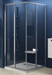RAVAK SUPERNOVA sarokbelépős zuhanykabin SRV2-90 S, szatén kerettel / PEARL betéttel, kételemes tolórendszerű ajtóval, 90 cm / 14V70U0211