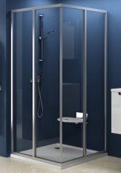 RAVAK SUPERNOVA sarokbelépős zuhanykabin SRV2-90 S, szatén kerettel / TRANSPARENT edzett biztonsági üveggel, kételemes tolórendszerű ajtóval, 90 cm / 14V70U02Z1