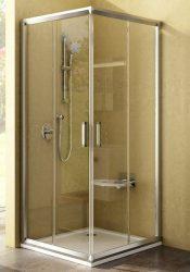 RAVAK Rapier NRKRV2-90 Négyrészes, szögletes, sarokbelépős, toló rendszerű zuhanykabin szatén kerettel / TRANSPARENT edzett biztonsági üveggel  90 cm / 1AN70U00Z1