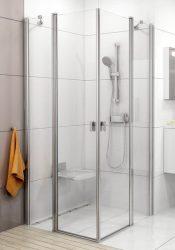 RAVAK Chrome CRV2-80 Szögletes zuhanykabin zuhanyajtó (1db) szatén kerettel / TRANSPARENT edzett biztonsági üveggel 80 cm / 1QV40U00Z1