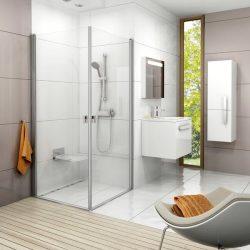 RAVAK Chrome CRV1-80 zuhanyajtó, szatén kerettel, Transparent edzett biztonsági üveggel, 80 cm, sarok zuhanykabin kialakításához, 1QV40U01Z1