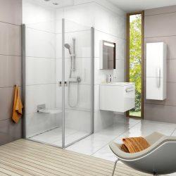 RAVAK Chrome CRV1-90 zuhanyajtó szatén kerettel, Transparent edzett biztonsági üveggel, 90 cm, sarok zuhanykabin kialakításához, 1QV70U01Z1