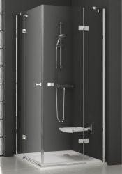 RAVAK SmartLine SMSRV4-80 Négyrészes sarokbelépős zuhanykabin króm zsanérral, transparent edzett biztonsági üveggel 90 cm, 1SV44A00Z1
