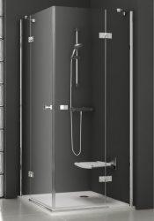 RAVAK SmartLine SMSRV4-80, Négyrészes sarokbelépős zuhanykabin, króm zsanérral, transparent edzett biztonsági üveggel, 90 cm, 1SV44A00Z1