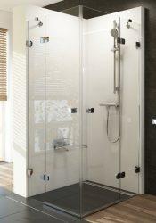 RAVAK Brilliant BSRV4-80 négyrészes zuhanykabin sarokbelépéssel + B SET, króm kerettel, transparent edzett biztonsági üveggel, 1UV44A00Z1 + D01000A073