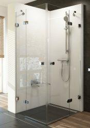 RAVAK Brilliant BSRV4-90 négyrészes zuhanykabin sarokbelépéssel + B SET, króm kerettel, transparent edzett biztonsági üveggel, 1UV77A00Z1 + D01000A073