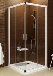 RAVAK Blix BLRV2K-80 Négyrészes toló rendszerű sarokbelépős zuhanykabin fehér kerettel, Grape edzett biztonsági üveggel 80 cm, 1XV40100ZG