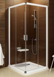 RAVAK Blix BLRV2K-90 zuhanyajtó, fehér kerettel, Transparent edzett biztonsági üveggel, négyrészes toló rendszerű sarokbelépős zuhanykabin kialakításához, 90 cm, 1XV70100Z1