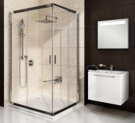 RAVAK Blix BLRV2K-90 zuhanyajtó, krómhatású / fényes alumínium kerettel, Grafit edzett biztonsági üveggel, négyrészes toló rendszerű sarokbelépős zuhanykabin kialakításához, 90 cm, 1XV70C00ZH