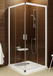 RAVAK Blix BLRV2K-90 Négyrészes toló rendszerű sarokbelépős zuhanykabin szatén kerettel / TRANSPARENT edzett biztonsági üveggel  90 cm / 1XV70U00Z1