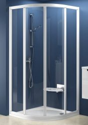 RAVAK SUPERNOVA SKCP4-90 négyelemes, negyedköríves tolórendszerű zuhanykabin szatén kerettel / PEARL műanyag (plexi) betétlemez, 90 cm-es / 31170U0011