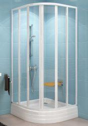 RAVAK SUPERNOVA SKKP6-80 hatelemes, negyedköríves tolórendszerű zuhanykabin fehér kerettel / PEARL műanyag (plexi) betétlemez, 80 cm-es / 3204010011