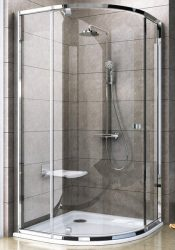 RAVAK Pivot PSKK3-90 háromrészes negyedköríves kifelé nyíló zuhanysarok fehér kerettel / TRANSPARENT edzett biztonsági üveggel 90 cm / 37677100Z1