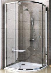 RAVAK Pivot PSKK3-90 háromrészes negyedköríves kifelé nyíló zuhanysarok, krómhatású / fényes alumínium kerettel, Transparent edzett biztonsági üveggel, 90 cm, 37677C00Z1
