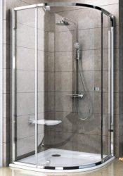 RAVAK Pivot PSKK3-100 háromrészes negyedköríves kifelé nyíló zuhanysarok, fehér kerettel, fehér foganytúval, Transparent edzett biztonsági üveggel 100 cm, 376AA101Z1