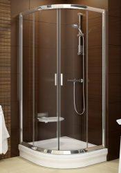 RAVAK Blix BLCP4-80 négyrészes negyedköríves tolóajtós zuhanykabin  fényes alumínium / krómhatású kerettel, Transparent edzett biztonsági üveggel, 80 cm, 3B240C00Z1