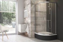 RAVAK BLCP4 - 80 Sabina, negyedköríves, tolóajtós zuhanykabin, Szatén kerettel, Grafit edzett biztonsági üveggel, 3B240U40ZH