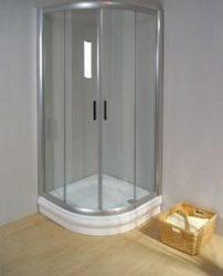 RAVAK Rapier NRKCP4-80 Negyedköríves tolóajtós négyrészes zuhanykabin szatén kerettel / TRANSPARENT edzett biztonsági üveggel 80 cm / 3L340U00Y1