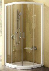 RAVAK Rapier NRKCP4-90 Negyedköríves tolóajtós négyrészes zuhanykabin fehér kerettel / TRANSPARENT edzett biztonsági üveggel 90 cm / 3L370100Y1