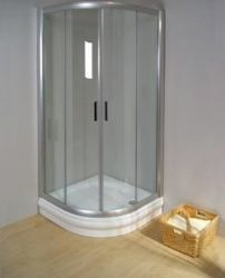 RAVAK Rapier NRKCP4-100 Negyedköríves tolóajtós négyrészes zuhanykabin szatén kerettel / TRANSPARENT edzett biztonsági üveggel 100 cm / 3L3A0U00Y1
