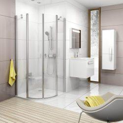 RAVAK Chrome CSKK4-90 Négy részből álló negyedköríves zuhanykabin fényes alumínium / krómhatású kerettel,  TRANSPARENT edzett biztonsági üveggel 90 cm, 3Q170C00Z1