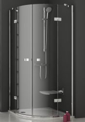 RAVAK SmartLine SMSKK4-90 Negyedköríves / íves négyrészes zuhanykabin króm zsanérral, transparent edzett biztonsági üveggel 90 cm, 3S277A00Y1