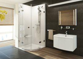 RAVAK Brilliant BSKK4-90 négyrészes, negyedköríves zuhanykabin + B SET, króm kerettel, transparent edzett biztonsági üveggel, 3U277A00Y1 + D01000A073