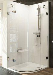 RAVAK Brilliant BSKK3-80 jobbos háromrészes, negyedköríves, íves zuhanykabin króm kerettel, transparent edzett biztonsági üveggel, 80 cm, 3UP44A00Y1