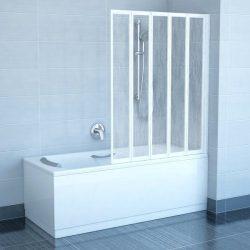 RAVAK VS5 Ötelemes, harmonika rendszerű kádparaván  fehér kerettel, Rain műanyag / plexi betétlemez, 794E010041