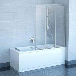 RAVAK VS3 100 Háromelemes harmonika rendszerű kádparaván, szatén kerettel, Transparent edzett biztonsági üveggel, 100 cm, 795P0U00Z1