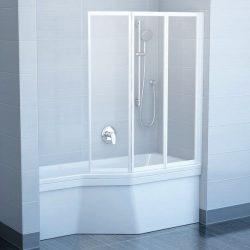 RAVAK VS3 130 Háromelemes harmonika rendszerű kádparaván, fehér kerettel, Rain műanyag / plexi betétlemez, 130 cm, 795V010041