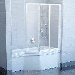RAVAK VS3 130 Háromelemes harmonika rendszerű kádparaván, fehér kerettel, Transparent edzett biztonsági üveggel, 130 cm, 795V0100Z1