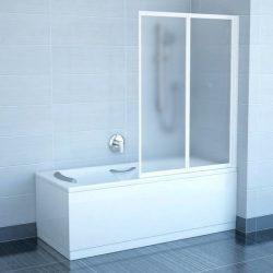 RAVAK VS2 105 Kételemes, harmonika rendszerű kádparaván fehér kerettel, Rain műanyag (plexi) betétlemez, 105 cm, 796M010041