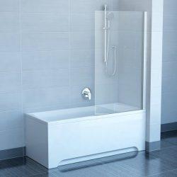 RAVAK PVS1-80 Egyrészes kádparaván, fehér kerettel, transparent edzett biztonsági üveggel, 80 cm, 79840100Z1