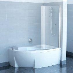 RAVAK CVSK1 Rosa 160/170 jobbos egyrészes kádparaván fehér kerettel, Transparent edzett biztonsági üveggel, 7QRS0100Y1