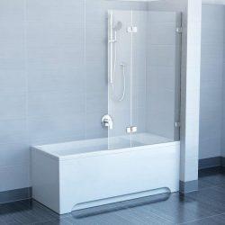 RAVAK BVS2-100 Kétrészes balos kádparaván + B SET, króm kerettel, transparent edzett biztonsági üveggel 100 cm, 7ULA0A00Z1 + D01000A072