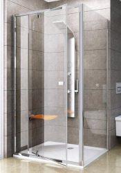 RAVAK Pivot PPS-80 Fix oldalfal Pivot zuhanyajtóhoz, szatén kerettel, Transparent edzett biztonsági üveggel, 80 cm, 90G40U00Z1