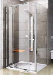 RAVAK Pivot PPS-90 Fix oldalfal Pivot zuhanyajtóhoz, szatén kerettel, Transparent edzett biztonsági üveggel, 90 cm, 90G70U00Z1