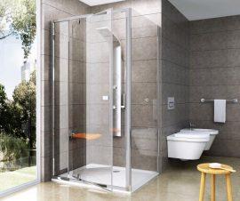 RAVAK Pivot Fix oldalfal PPS-100, krómhatású / fényes alumínium kerettel, Transparent edzett biztonsági üveggel, 90GA0C00Z1
