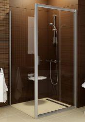 RAVAK Blix BLPS-80, fix zuhany oldalfal, fehér kerettel, Grape edzett biztonsági üveggel, zuhanykabinhoz, 80 cm, 9BH40100ZG