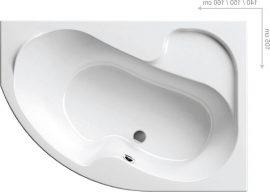 RAVAK Rosa I. Aszimmetrikus akrilkád / kád, 160 x 105 cm-es  / hófehér / fehér, jobbos / CL01000000