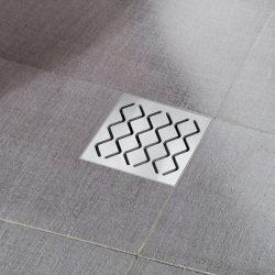 RAVAK SN501 Hullámmintás padlóösszefolyó / rozsdamentes acél ráccsal / 105x105/50 / cikkszám: X01435