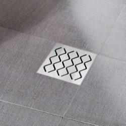 RAVAK SN501 Hullámmintás padlóösszefolyó, rozsdamentes acél ráccsal, 105x105/50, X01435