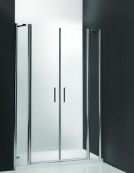 Roltechnik TDN2/1300 kétszárnyas nyitható zuhanyajtó / 130x200 cm-es / ezüst profillal / transparent üveggel / TOWER LINE