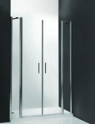 Roltechnik TDN2/1500 kétszárnyas nyitható zuhanyajtó / 150x200 cm-es / ezüst profillal / transparent üveggel / TOWER LINE