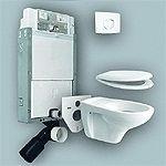 Sanit 980 szett beépíthető / falba építhető / befalazható wc tartály / szerelőelem + nyomólap + wc ülőke + fali wc csésze