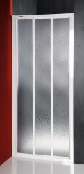 Aqualine / Sanplast DTR-C-80 háromrészes eltolható zuhanyajtó / ajtó zuhanyhoz, fehér kerettel, cseppmintás plexi / polisztirén betéttel, 800 mm-es / 80 cm-es