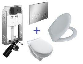 SCHELL Montus C-N 120 beépíthető WC tartály szett téglafalhoz / komplett befalazható wc tartály + Linear Round fehér nyomólap +  Saval 2.0 fali wc csésze + ülőke