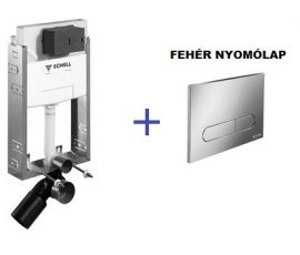 SCHELL Montus C-N 120 beépíthető WC tartály szett téglafalhoz / komplett befalazható wc tartály + Linear Round fehér nyomólap